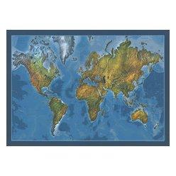 Fyzická a slepá nástěnná mapa světa oboustranná 140 x 100 cm