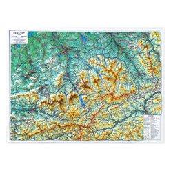Plastická mapa Beskydy 100 x 75 cm